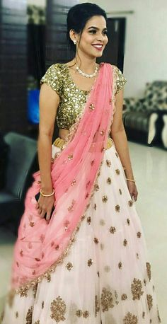 Half Saree Designs, Lehenga Designs, Blouse Designs, Salwar Designs, Dress Designs, Ethnic Dress, Indian Ethnic Wear, Indian Gowns Dresses, Indian Outfits