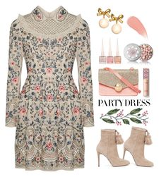 """#PolyPresents: Party Dresses"" by collagette ❤ liked on Polyvore featuring Needle & Thread, MICHAEL Michael Kors, Dorothy Perkins, Guerlain, Kate Spade, Christian Louboutin and Chantecaille"