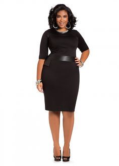Ashley Stewart: Web Exclusive: Ponte and Faux Leather Dress