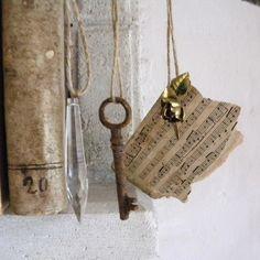 Vintage skeleton key, chandelier crystal, rose brooch, sheet music ornaments