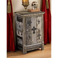 Victorian Distressed Aged Gothic Cross Paulownia Wood Side Table Cabinet | eBay