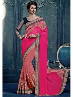 Pink Color Latest Embroidered Saree Blouse 5060HR