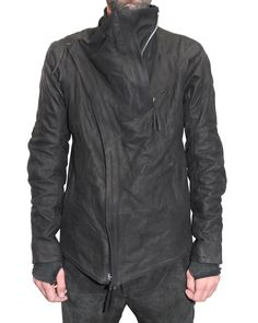 Boris Bidjan Saberi Leather Zip Jacket, black, future clothes