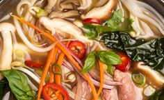 Detox Pho with Beef, Mushrooms, and Kale   / Photo by David Cicconi, food styling by Rhoda Boone