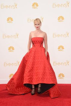 Emmys 2014. January Jones made sure her Christian Louboutin footwear got equal time in the spotlight thanks to Prabal Gurung's voluminous ballgown. She completed the ensemble with Jack Vartanian earrings and a Carla Amorim ring.