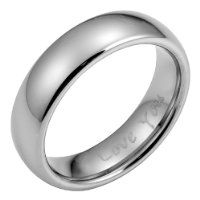 Mens Band Ring Engraved I Love You Crafted In Pure Tungsten Packed In A Free Gift Box by Willis Judd