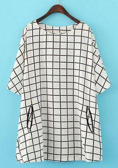 White Plaid Pockets T-Shirt