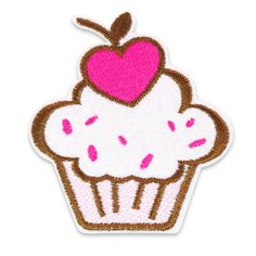 Kawaii Kitsch Heart Cherry Cupcake Iron-On/ Sew-On Patch