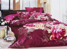 US$113.99 Splendid Flowers 4 Piece Duvet Cover Aubergine Cotton Bedding Sets. #Sets #Flowers #Cotton #Duvet