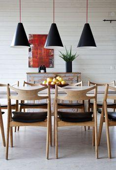 white + wood dining #pendant lights #danish style