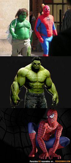 Parecidos NO razonables Hulk y Spiderman.