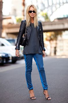 What makes this outfit: Cropped jacket, long shirt underneath, skinny pants and heels....Perfection.  This look; Elin Kling.
