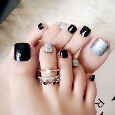Black False Glue On Fake French Natural Toe Nail Acrylic Toe Nail Tips Art - Ongles 02 Frensh Nails, Acrylic Toe Nails, Black Toe Nails, Cute Toe Nails, Pedicure Nails, Toe Nail Art, Acrylic Nail Designs, Nail Art Designs, Pedicures