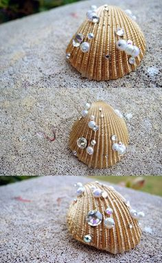 Spray painted shells with beads on Seashell Jewelry, Seashell Art, Seashell Crafts, Beach Crafts, Diy Jewelry, Jewelry Making, Seashell Ornaments, Jewellery, Crafts To Make