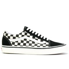Vans Primary Check Old Skool sneakers ($98) ❤ liked on Polyvore featuring shoes, sneakers, vans shoes, genuine leather shoes, black white checkered shoes, checkered shoes and unisex sneakers