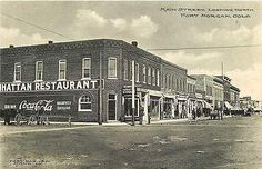 Fort Morgan Colorado CO 1908 Main Street Manhattan Restaurant Vintage Postcard