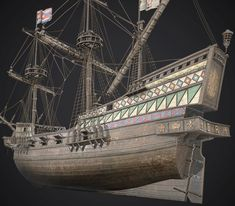 Ship Golden Hind 1577 This is a low-poly model of Ship Golden Hind. I hope you like this model Golden Hind, Model Ship Building, Old Sailing Ships, Low Poly Models, Model Ships, Boats, Miniature, Awesome, Blue