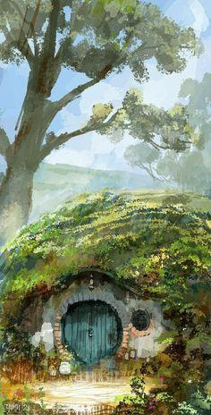 In a hole in the ground / book / the hobbit / LoTR / fanart Legolas, Gandalf, Aragorn, Jrr Tolkien, Fantasy World, Fantasy Art, Fantasy Fiction, Midle Earth, John Howe