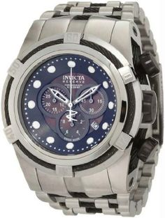 Invicta 825 Mens Reserve Stainless Steel Case and Bracelet Black Mother of Pearl Dial Chronograph Watch | Your #1 Source for Watches and Acc...
