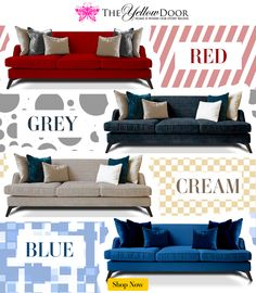 Get our favorite Three Seater Sofa in a #color of your choice: #Red, #Grey, #Cream or #Blue! http://www.theyellowdoorstore.com/furniture/sofas/red-coloured-three-seater-sofa
