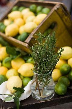 lemons, limes and fresh cut rosemary