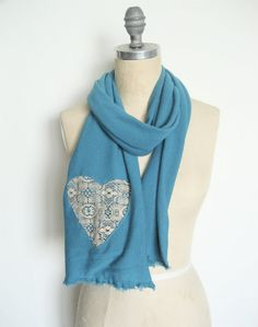 Turquoise scarf with lace heart