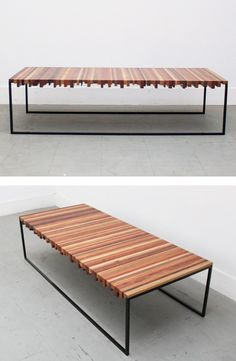 Reclaimed wood coffee table STRIPER COFFEE TABLE by Uhuru Design @uhurudesign