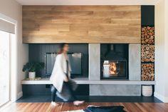 Radiante 747 - Cheminees Philippe Australia Open Fireplace, Fireplace Surrounds, Fireplace Design, Fireplace Console, Interior Stylist, Interior Design, Stone Bench, Homewares Online, Rustic Contemporary