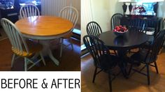 DIY paint job on my dining room table, no sanding required.  1) Zinsser Bulls Eye 1-2-3 1-Gal. Water-Based White Primer/Sealer   2) Spray painted all 6 chairs with Rust-Oleum Painter's Touch 2X 12-oz. Semi-Gloss Black General Purpose Spray Paint  Paint Table (and chairs instead of spray paint if you want to) Rustoleum Painter's Touch Semi-gloss Black General Purpose Paint  3) Seal for long lasting durability using Varathane 1-Qt. Clear Semi-Gloss Water-Based Interior Polyurethane