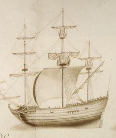Les Sables d'Olonne, 1er port morutier du royaume au 17è siècle. Desstn de l'album dit de Jouve