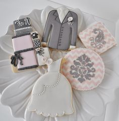 Wedding Cookies - Pink & Grey Collection   Cookie Connection