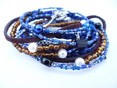 Anchors Away Multi Strand Triple Wrap Leather Bracelet with Beads & Chain. Dark Blue, Pearls, Boho Bracelet. Sterling Silver Anchor Charm