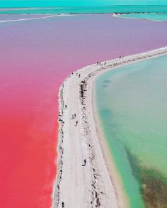 Las Coloradas Yucatan Mexico;⠀ There is a pink lake in Mexico right next to the Caribbean Sea