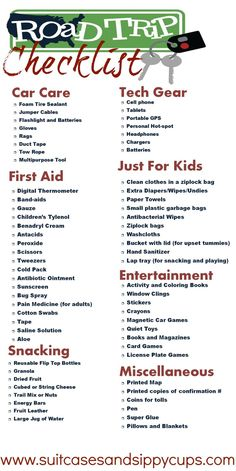 road trip packing with kids checklist http://finelinedrivingacademy.co.uk