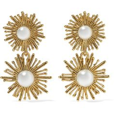 Oscar de la Renta Sun Star gold-plated faux pearl clip earrings (470 AUD) ❤ liked on Polyvore featuring jewelry, earrings, accessories, fake pearl earrings, gold plated jewellery, star earrings, clip on earrings and nautical jewelry