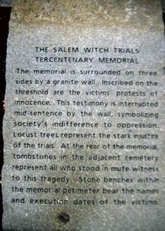 salem witch memorial | Salem Witch Memorial plaque