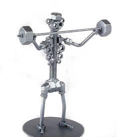 Weight-lifting Sportsman Gym Workout - MetalDiorama Metal Art Sculpture