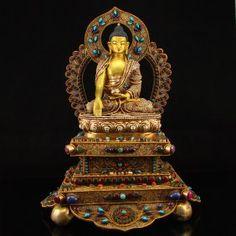 Tibet Silver Gilt Gold Siddhartha Buddha Statue