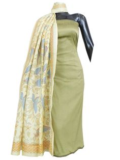 Silk Cotton Kurta and Blockprint Art Silk Dupatta- Offwhite