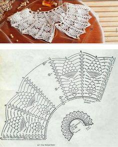 Crocheted motif no. Crochet Collar Pattern, Col Crochet, Crochet Stitches Chart, Crochet Mandala Pattern, Crochet Lace Edging, Crochet Gloves, Crochet Diagram, Doily Patterns, Thread Crochet