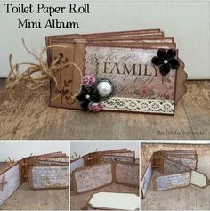 toilet paper roll ~Mini Album~ you can see all the pages on my blog! #minialbum #mixedmedia #scrapbooking