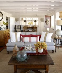 Superior Marvelous Rustic Cottage Living Room Decoration Ideas With White Beam  Ceiling Plus Stripes Sofa Using Wooden Awesome Design
