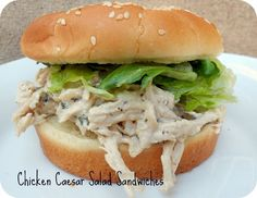 Slow Cooker Chicken Caesar Salad Sandwiches on SixSistersStuff.com- these are incredible!