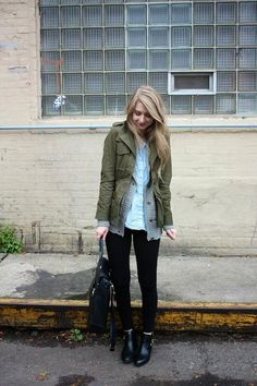olive utility jacket / grey cardigan / chambray / black denim + booties / outfit