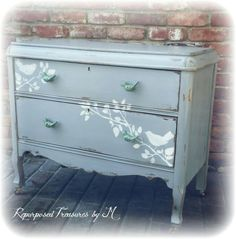 SOLD SOLD Distressed Antique dresser, shabby chic dresser, stenciled dresser, 2 drawer dresser, Rustic dresser, gray dresser