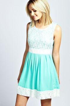 $30, Mint Lace Skater Dress: Boohoo Larna Lace Contrast Panel Skater Dress. Sold by BooHoo. Click for more info: https://lookastic.com/women/shop_items/65457/redirect