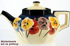 Royal Doulton Pansies Octagon Teapot 1917-1930