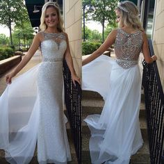 Sparkly Prom Dress, new style white prom dress backless sheer silver beaded bodice modest evening dress with sparkle long chiffon sequin formal gown for senoir teens Ball Gown Prom Sparkly Prom Dresses, Prom Dresses 2016, Elegant Prom Dresses, Backless Prom Dresses, Prom Dresses Online, Prom Gowns, Dress Prom, Formal Dresses, Party Dresses