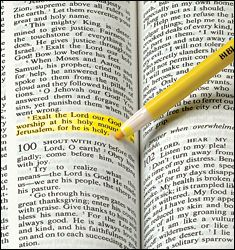 """Bible Dry Liter - Walter Drake - highlights tiny text without the damaging soak-throughs of standard highlighters!  Bible highlighter fine tip will mark favorite passage for easy reference.  Bible marking pen is yellow, 6-1/2"""" long.  $1.99 each  1/14/2014"""