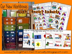 Workbox system for homeschooling or preschool including free labels and resource recommendations
